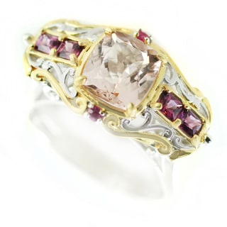 One-of-a-kind Michael Valitutti Morganite, Rhodolite and Hot Pink Sapphire Cocktail Ring
