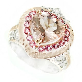 One-of-a-kind Michael Valitutti Morganite Heart with Pink Tourmaline Halo Cocktail Ring