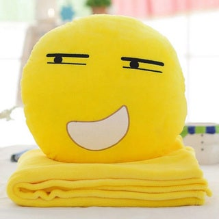 BH Toys QQ Emoji Plush Expression Grin Face Hand Warming Pillow with Blanket