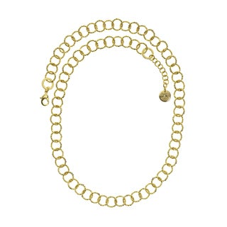 Isla Simone - 18K Gold Electro Plated Yellow Textured Round Link Necklace