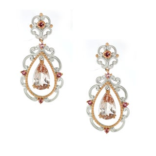 One-of-a-kind Michael Valitutti Morganite and Pink Tourmaline Dangling Earrings