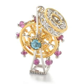One-of-a-kind Michael Valitutti Big Wheel Charm with Swiss Blue Topaz and Rhodolite