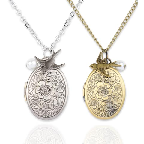 Mint Jules Ornate 30-inch Oval Picture Locket Necklace with Pearl and Swallow Bird Charm