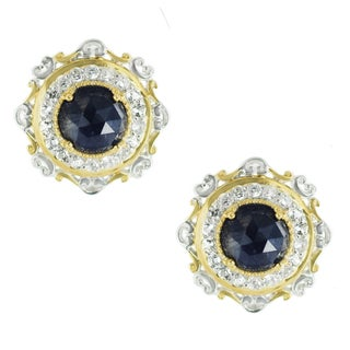 One-of-a-kind Michael Valitutti Rose Cut Blue Sapphire and White Zircon Stud Earrings