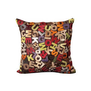 Mina Victory Natural Leather and Hide Alphabet Multicolor Throw Pillow (20-inch x 20-inch) by Nourison