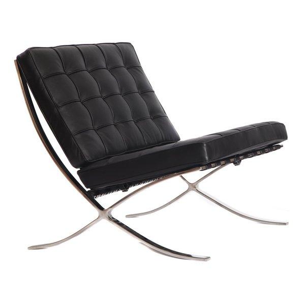 Mid Century Modern Barcelona Italian Leather Pavilion Chair Free Shipping T