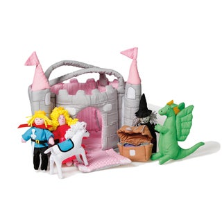 Oskar & Ellen 7-piece Magical Medieval Castle with Pink Towers Plush Play Set