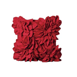 Mina Victory Felt Four Large Felt Flowers Red Throw Pillow (20-inch x 20-inch) by Nourison