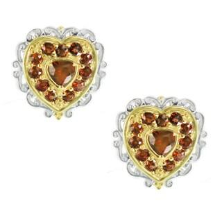 One-of-a-kind Michael Valitutti Idaho Garnet Heart Stud Earrings
