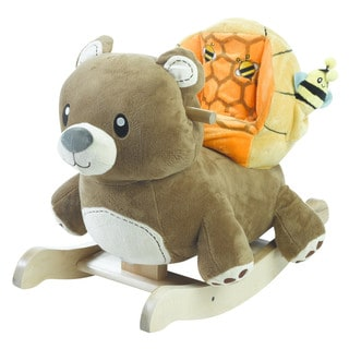 Rockabye Honey Bear Wood and Fabric Plush Rocker