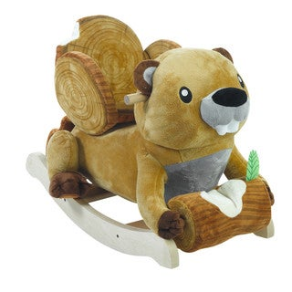 Rockabye Brown Plush Buckee Beaver Rocker