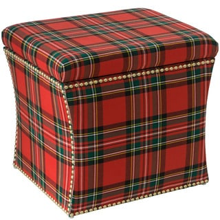 Skyline Furniture Ancient Stewart Red Wood and Polyurethane Nail Button Storage Ottoman