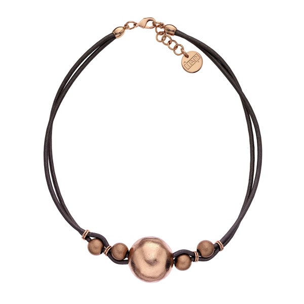 Isla Simone - 18 Karat Rose Gold Electro Plated Ball And Brown Cord Choker. Opens flyout.