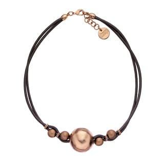 Isla Simone - 18 Karat Rose Gold Electro Plated Ball And Brown Cord Choker