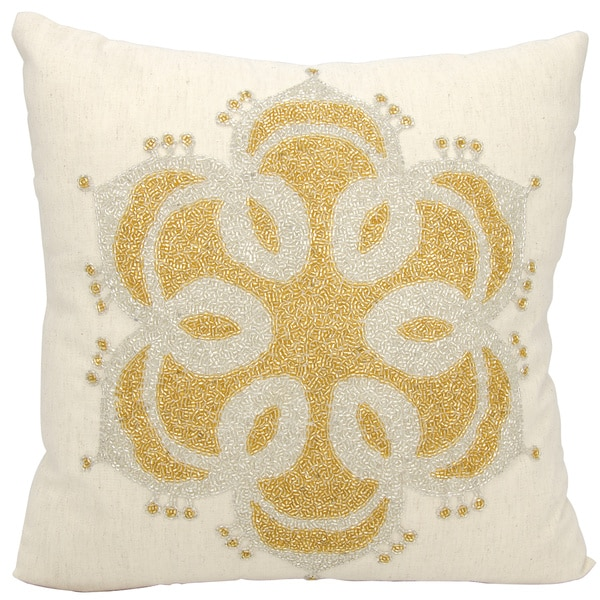 Mina Victory Luminescence Beaded Snow Flake Beige Throw Pillow (16-inch x 16-inch) by Nourison