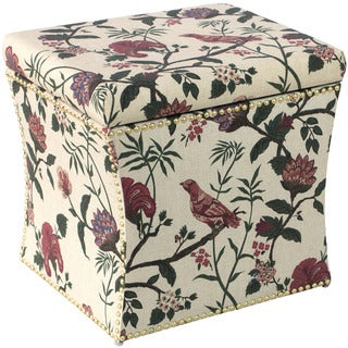 Skyline Furniture Floral Fabric Nail Button Storage Ottoman
