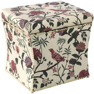Skyline Furniture Floral Fabric Nail Button Storage Ottoman