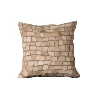 Mina Victory Natural Leather and Hide Pebbles Ivory Throw Pillow (20-inch x 20-inch) by Nourison