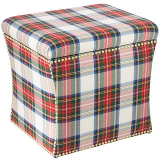 Skyline Furniture Stewart Dress Multicolor Cotton/Pine Nailhead Storage Ottoman