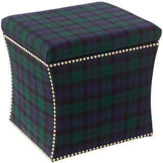 Skyline Furniture Blackwatch Nail Head Trim Wood Storage Ottoman