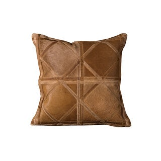 Mina Victory Natural Leather and Hide Criss Cross Amber Throw Pillow (20-inch x 20-inch) by Nourison