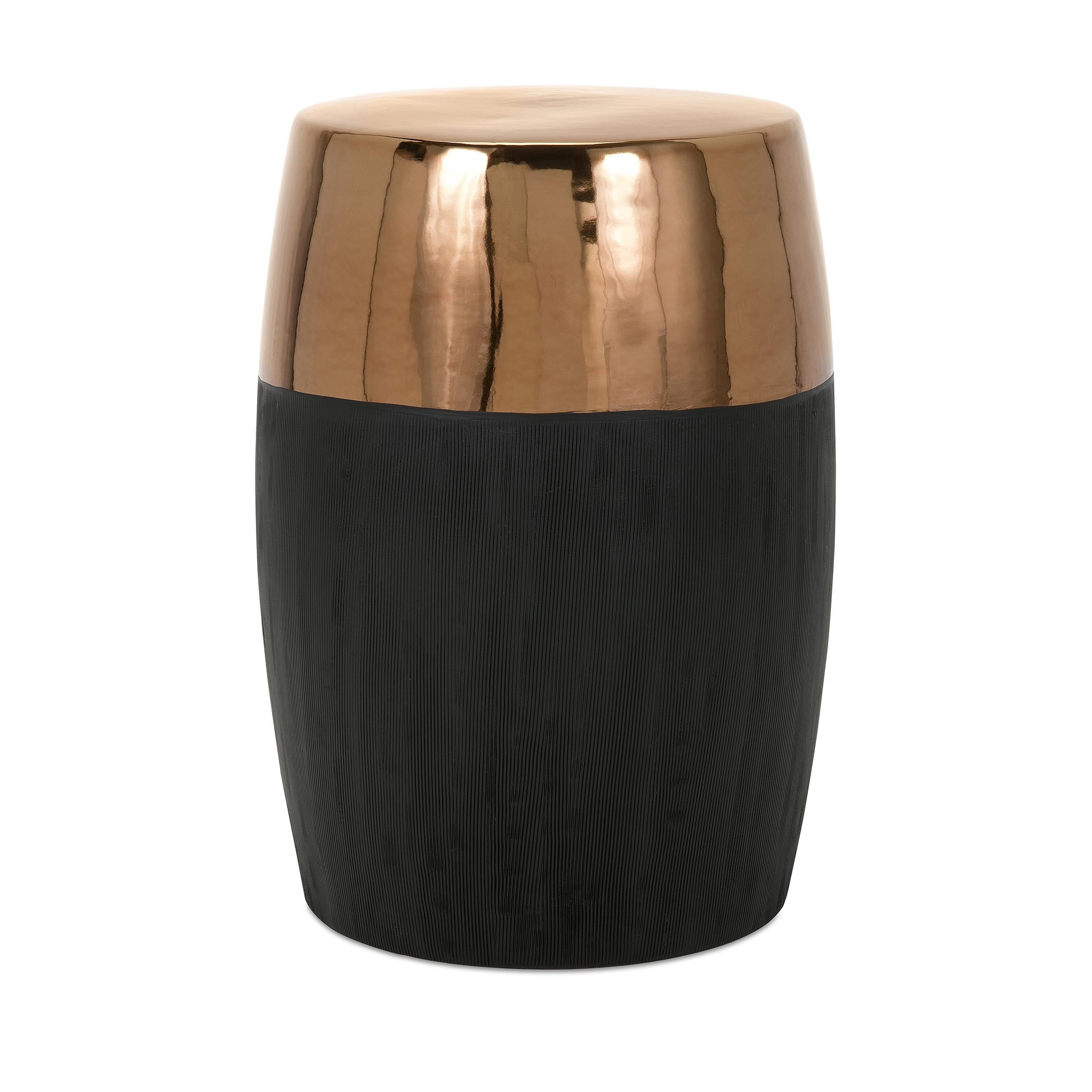 IMAX Rhone Garden Stool (Stool), Black (Ceramic, Solid)