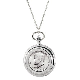 American Coin Treasures JFK 1964 First Year of Issue Half Dollar Pocket Watch Pendant Necklace