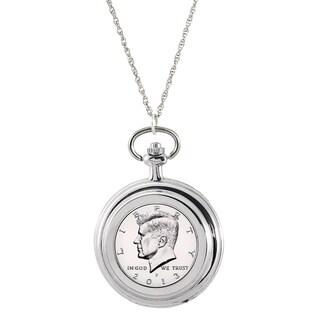 American Coin Treasures White Base Metal Proof JFK Half Dollar Pocket Watch Pendant Necklace