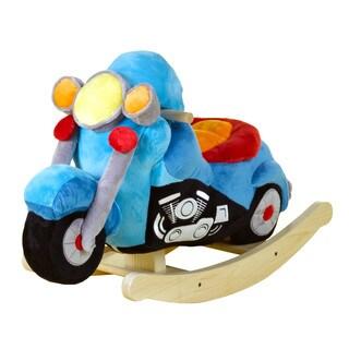 Rockabye Lil' Biker Blue Plush Motorcycle Rocker