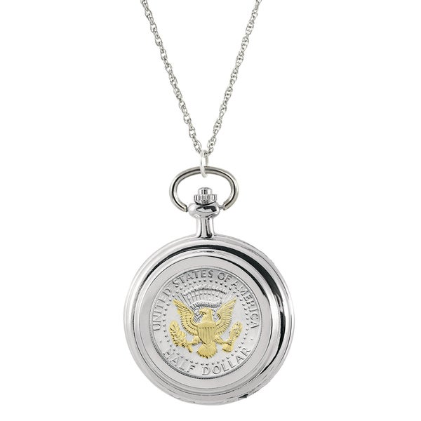 American Coin Treasures White Base Metal Selectively Gold-layered Presidential Seal Half Dollar Pocket Watch Pendant Necklace