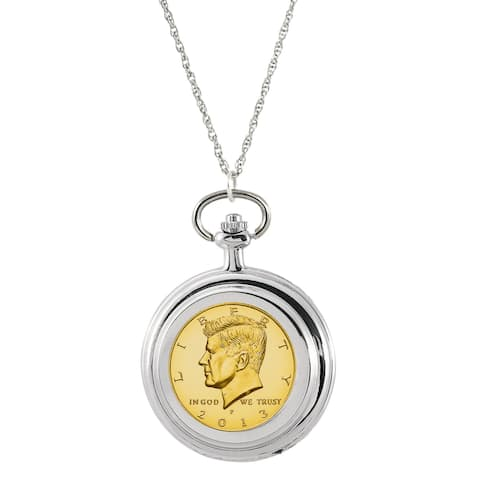 American Coin Treasures Gold-layered JFK Half Dollar Pocket Watch Pendant Necklace