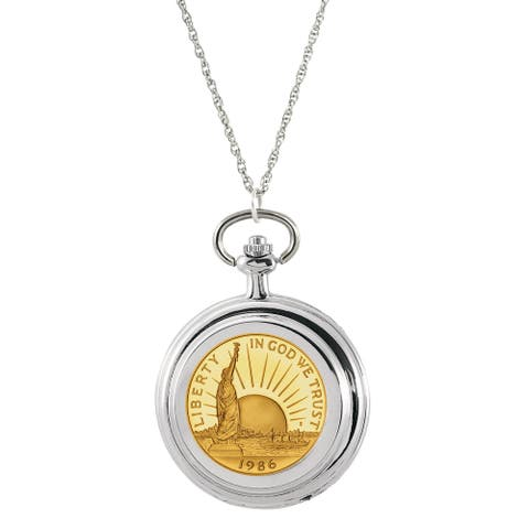 American Coin Treasures Silvertone and Gold Layered Statue of Liberty Commemorative Half-dollar Pocket Watch Pendant Necklace