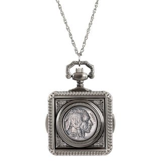 American Coin Treasures Buffalo Nickel White Finish Metal Pocket Watch Pendant Necklace