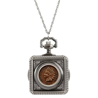 American Coin Treasures Indian Penny Pocket Watch Pendant Necklace