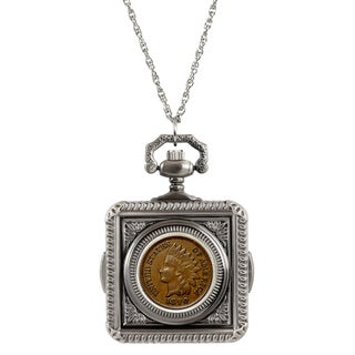American Coin Treasures 1800's Indian Penny Pocket Watch Pendant Necklace