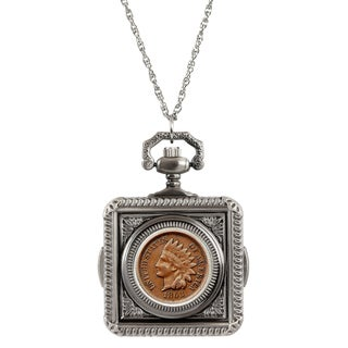 American Coin Treasures Civil War Indian Head Penny Pocket Watch Pendant Necklace