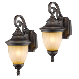 Laurel Designs Brentwood Dark Bronze Metal Outdoor Wall Light (Set of 2)