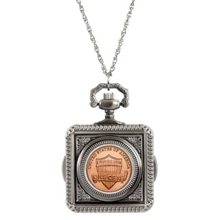 American Coin Treasures Lincoln Union Shield Penny Pocket Watch Pendant Necklace