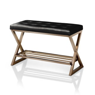 Furniture of America Stelly II Contemporary Faux Leather Accent Bench with Shoe Rack (2 options available)