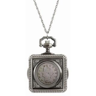 American Coin Treasures 1800s Liberty Nickel Pocket Watch Pendant Necklace