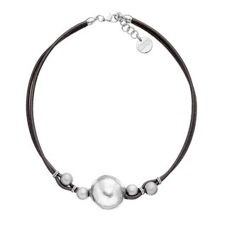 Isla Simone - Fine Silver Electro Plated Ball And Brown Cord Choker