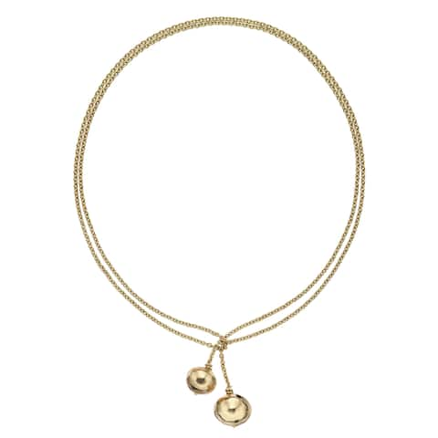 Isla Simone - 18 Karat Gold Electro Plated Long Hanging Ball Necklace
