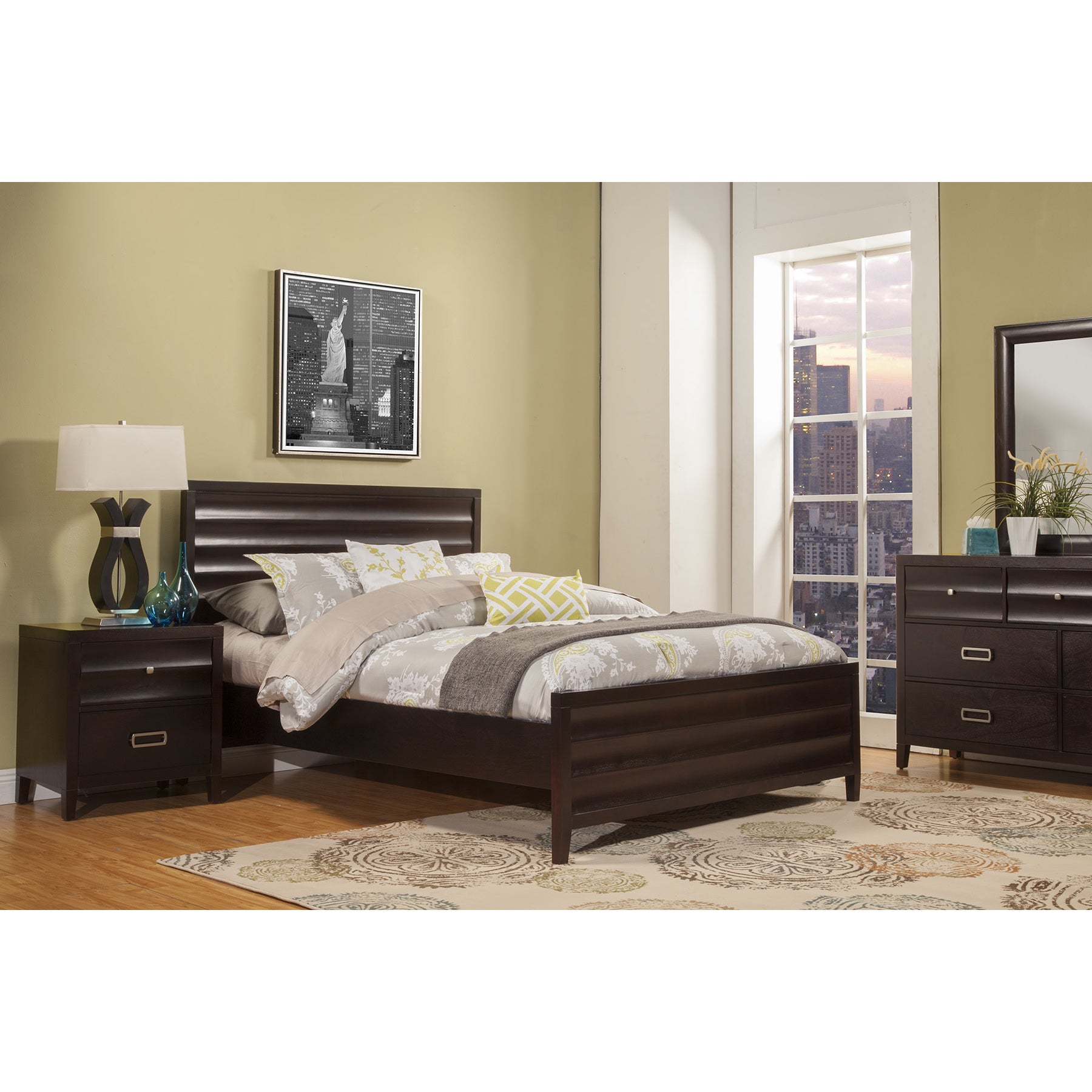 Alpine Furniture Alpine Legacy Black Wood Panel Bed (Queen)