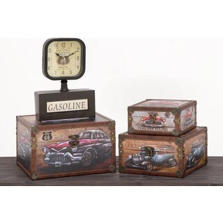 Urban Designs Old Fashion Route 66 Cars Wood 3-piece Decorative Box Set