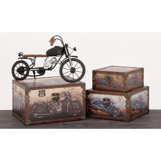 Urban Designs Old Fashion Route 66 Mortorcycles Decorative Boxes (3-piece Set)