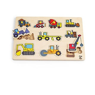 Hape Construction Vehicle Bamboo Peg Puzzle