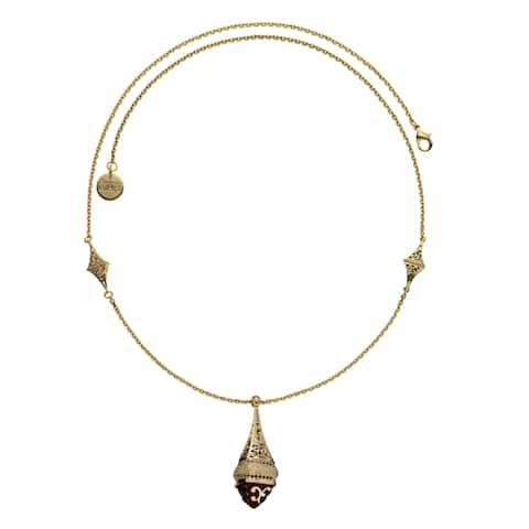 Isla Simone - 18 Karat Gold Electro Plated Hanging Lantern Necklace With Red Enamel