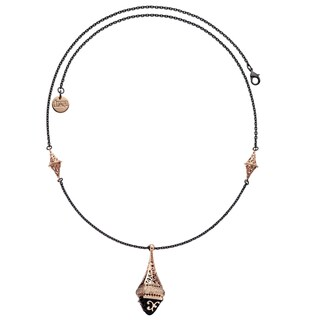 Isla Simone - 18 Karat Rose Gold Electro Plated And Black Rhodium Plated Hanging Lantern Necklace With Black Enamel