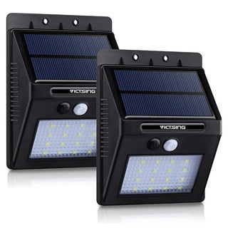 Black ABS/Plastic 16-LED 320-Lm Solar Panel-powered Motion-sensor Outdoor Security Light with Diamond Lampshade (2 Packs)