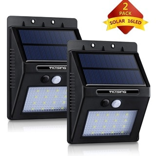 Outdoor Solar LED Garden Security Light with Diamond Lampshade (Pack of 2)